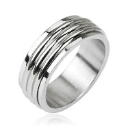316L Stainless Steel Triple Groove Center Spinner Ring