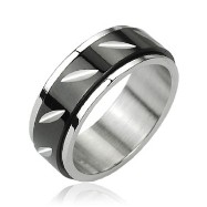 316L Stainless Steel Black W/ Center Spinner Ring