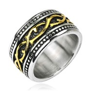 316L Stainless Steel Gold IP Tribal Vine Link Armor Wide Ring