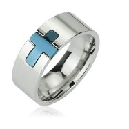 316L Stainless Steel Ring with Blue IP Cross