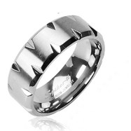 Solid Titanium with Faceted Edges Ring