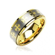 Tungsten Carbide PVD Gold and Brushed Ring with Cross Decorations