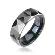 PVD Black Tungsten Carbide Ring with Triangular Prism Cut Design