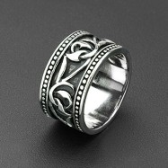 316L Stainless Steel Tribal Twisted Vine Armor Wide Ring