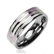 Solid Titanium with Mother of Pearl Inlayed Three Stripe Ring
