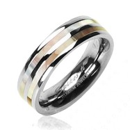 Solid Titanium with Mother of Pearl Inlayed Dual Striped Ring