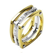 Solid Titanium with IP Gold and CZ Stones Ring