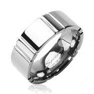 Solid Titanium Multi Faceted Groove Band Ring