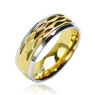 316L Surgical Stainless Steel Rings W/ Patterned Gold Tone Center And Shiny Finish Steel Edges