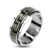 316L Stainless Steel Black IP Maze Link Spinner Ring