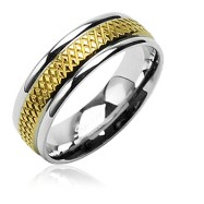 316L Surgical Stainless Steel Rings/Grooved IP Gold Center