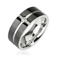 316L Surgical Stainless Steel Ring with Layered Crossing Black IP with CZ Center