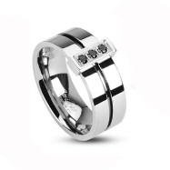 316L Stainless Steel 2 Tone Ring with Grooved black Center with 3 black CZs