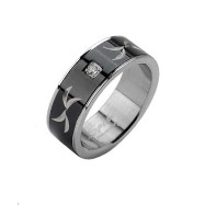Stainless Steel Ring with Black Tribal Carve and Single