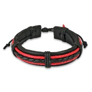 Black Leather Bracelet With Black & 2 Red Braids