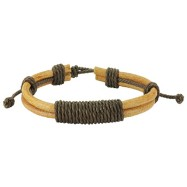 Brown Leather Bracelet with Long Shocker Tie Knots