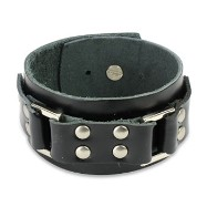 Black Leather Wide Bracelet with Steel Links & Studded Buckle