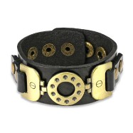 Black Leather Bracelet with Vintage Steel Buckle Charm