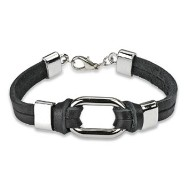 Black Leather Bracelet with Steel Link Center Accent