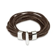 Brown Leather Multi Strings Bracelet