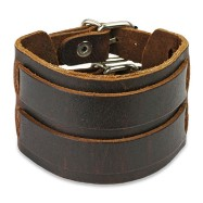 Brown Leather Bracelet With Double Strap Belt Buckle