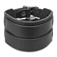 Black Leather Bracelet with Double Strap Belt Buckle