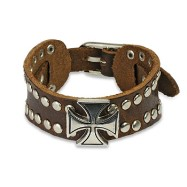 Brown Leather Bracelet With Celtic Cross And Multi Dome Studs