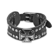 Black Leather Bracelet with Celtic Cross And Multi Dome Studs