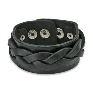 Black Leather Bracelet With Wide Weave Strips