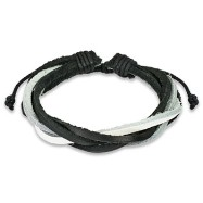 Brown Leather Bracelet With 5 Entangled Black And White Strips