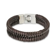 Brown Leather Bracelet with Locking Braided Scale Design