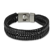 Black Leather Bracelet With Locking Braided Scale Design
