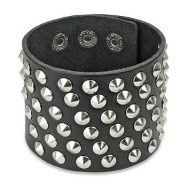 Black Leather Extra Wide Bracelet with 60 Small Steel Cone Studs