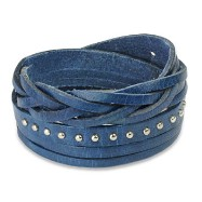 Blue Leather Multi-Wrap Bracelet With Multi Studded Weaved End Design