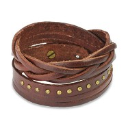 Brown Leather Multi-Wrap Bracelet With Multi Studded Weaved End Design