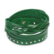 Green Leather Multi-Wrap Bracelet with Multi Studded Weaved End Design