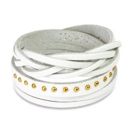 White Leather Multi-Wrap Bracelet with Multi Studded Weaved End Design