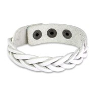 White Leather Bracelet with Cross Braided Double Strips