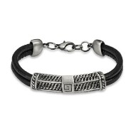 Black Double String Leather Bracelet With G Scaled Steel Center Charm
