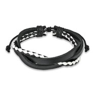 Black & White Leather Bracelet With 3 Entangled Layer