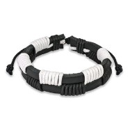 Black & White Leather Bracelet With Zig-Zag Shocker Knots