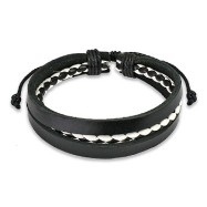 Black Leather Bracelet with Black & White 2 Tone Braided Center