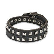 Black Leather Double Wrap Bracelet with Pyramid Studs