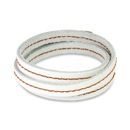 White Leather Triple Wrap Bracelet with Stitched Center Design