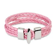 Pink Braided Leather 4 Strings Bracelet