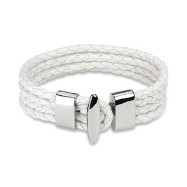 White Braided Leather 4 Strings Bracelet