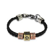 Black Leather Braided Double Strings Bracelet with Celtic Cross & Scaled Steel Charm