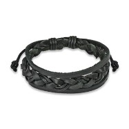 Black Leather Bracelet with Double Strings Weaved Center