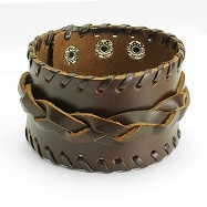 Brown Leather Wide Center Link Buckle Bracelet With Adjustable Snap Closure