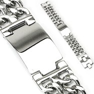 316L Stainless Steel Bracelet with Engraving Plate & Double Chains On Each Side